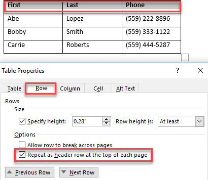 Check the Repeat as header row box in Table Properties