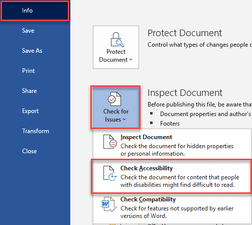 Info > Check for Issues > Check Accessibility