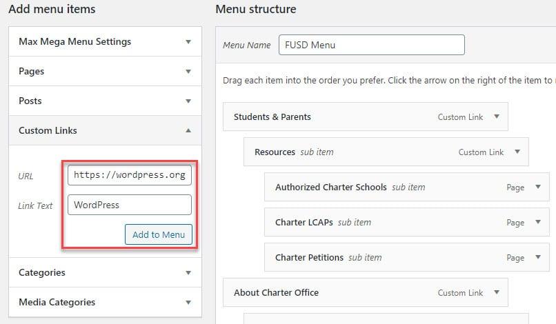 Screenshot of Custom Link section