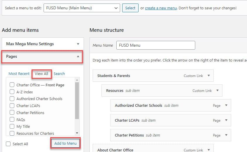 Screenshot of how to add a page onto menu